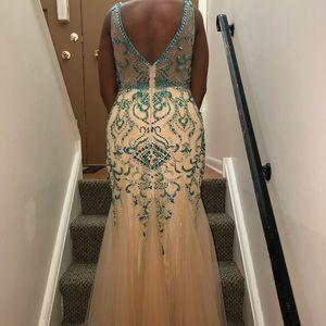Cream & Green Mermaid Prom Dress